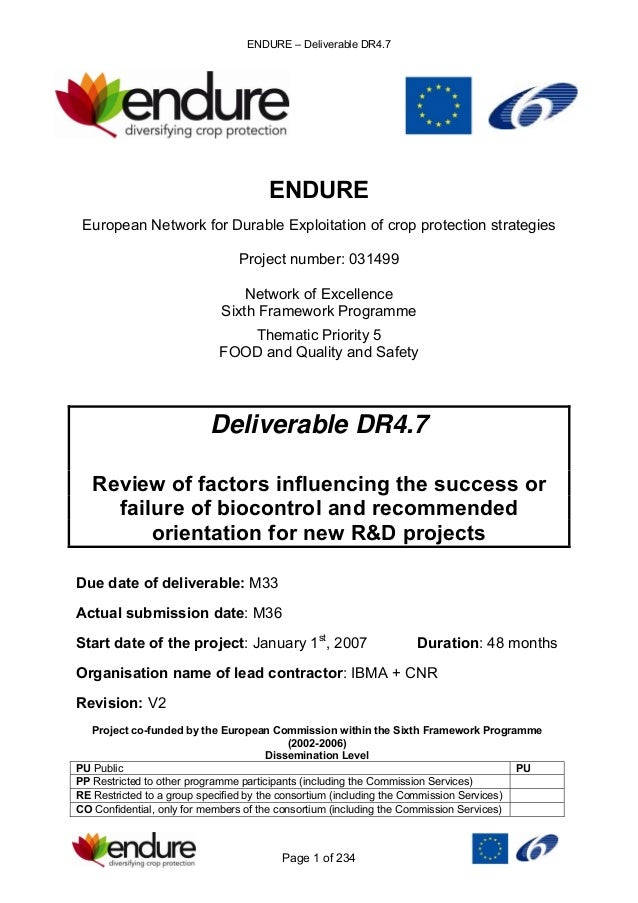ENDURE – Deliverable DR4.7 Page 1 of 234 ENDURE European Network for Durable Exploitation of crop protection strategies Pr...