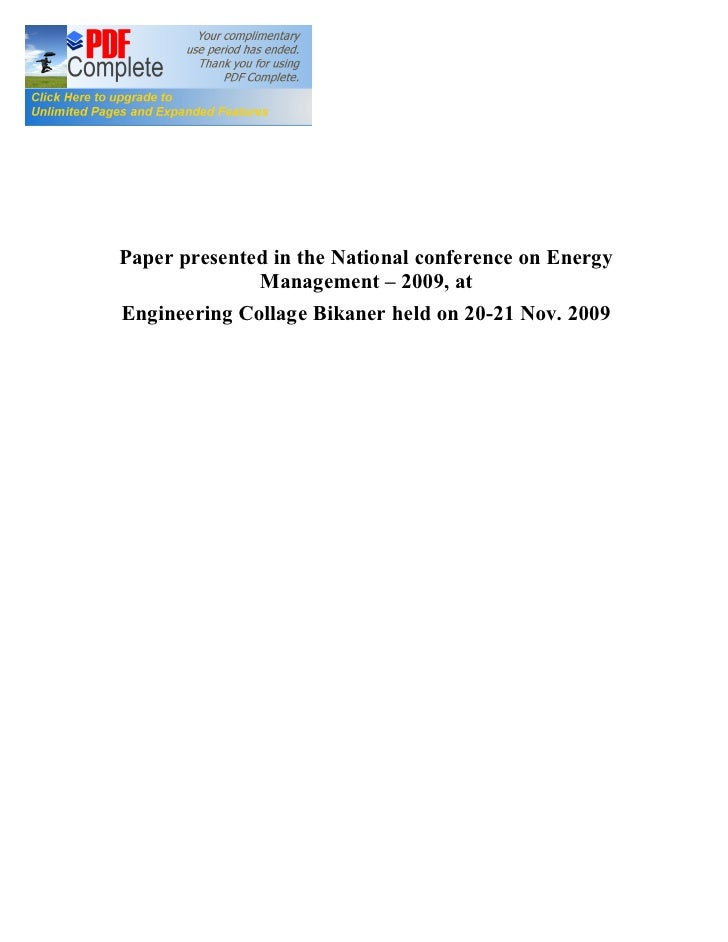 Paper presented in the National conference on Energy               Management 2009, at Engineering Collage Bikaner held on...
