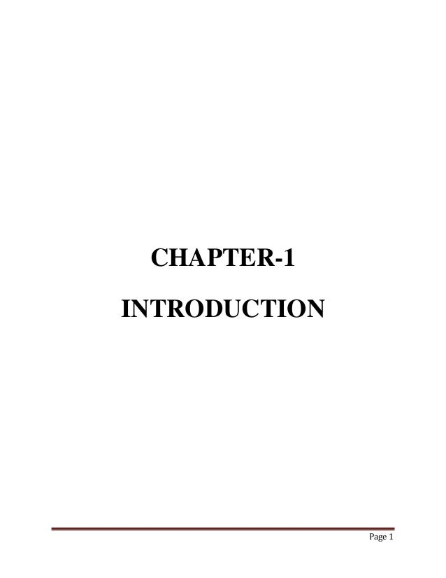 CHAPTER-1 INTRODUCTION  Page 1