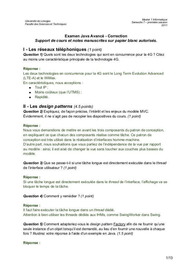 Université de Limoges Faculté des Sciences et Techniques Master 1 Informatique Semestre 7 – première session 2011 Examen J...