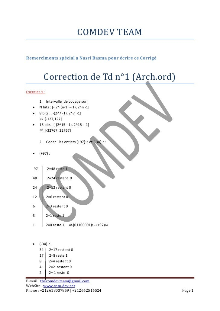 COMDEV TEAMRemercîments spécial a Nasri Basma pour écrire ce Corrigé           Correction de Td n°1 (Arch.ord)EXERCICE 1 :...