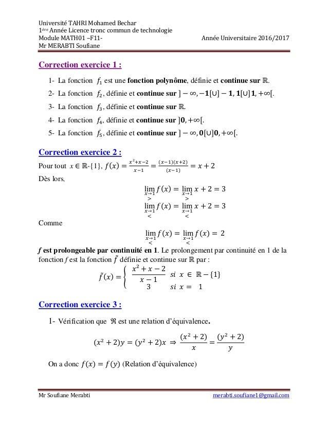 Correction De Test N 2 Exercice Corrige Math Les Limites La Continu