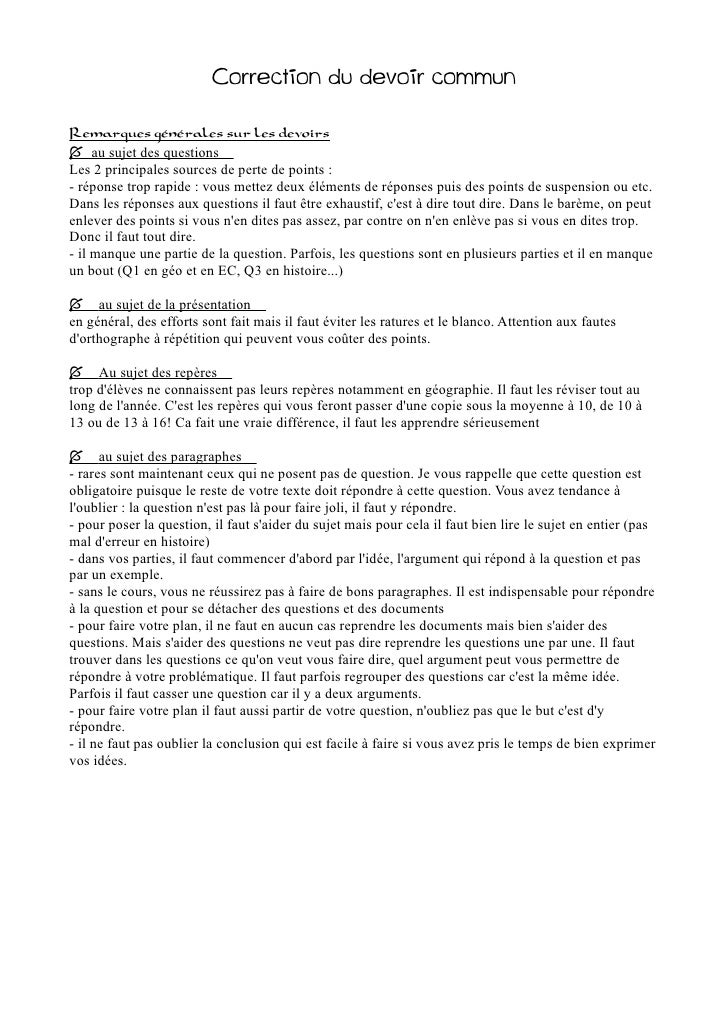 devoir commun francais seconde