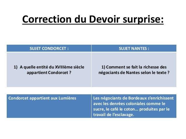 Correction du Devoir surprise:  SUJET CONDORCET : SUJET NANTES :  1) A quelle entité du XVIIIème siècle  appartient Condor...