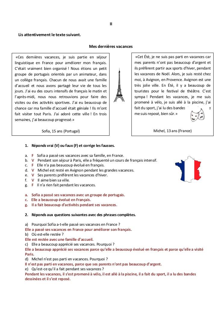 correction du test de fran u00e7ais 8 u00e8me ann u00e9e