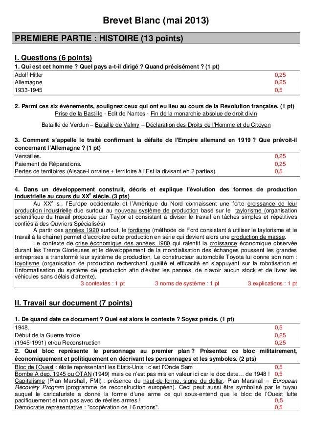Brevet Blanc (mai 2013)PREMIERE PARTIE : HISTOIRE (13 points)I. Questions (6 points)1. Qui est cet homme ? Quel pays a-t-i...