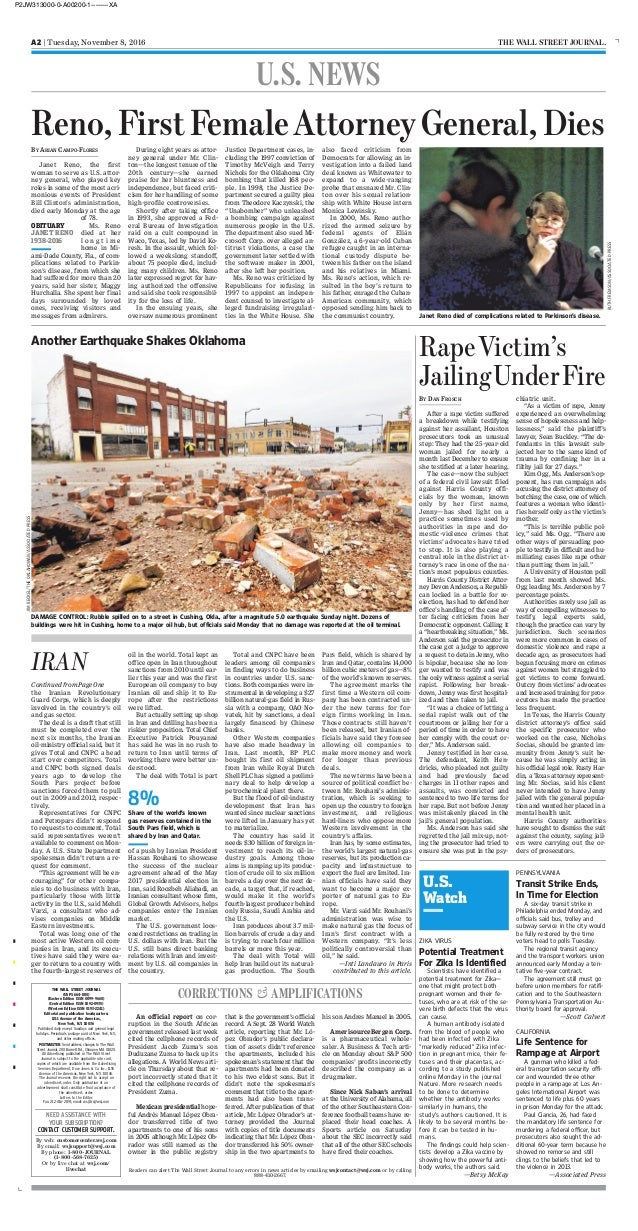A2 | Tuesday, November 8, 2016 THE WALL STREET JOURNAL. An official report on cor- ruption in the South African government...