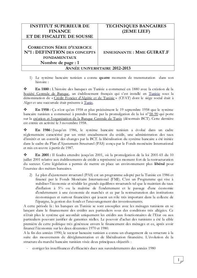 INSTITUT SUPERIEUR DE                                  TECHNIQUES BANCAIRES          FINANCE                              ...