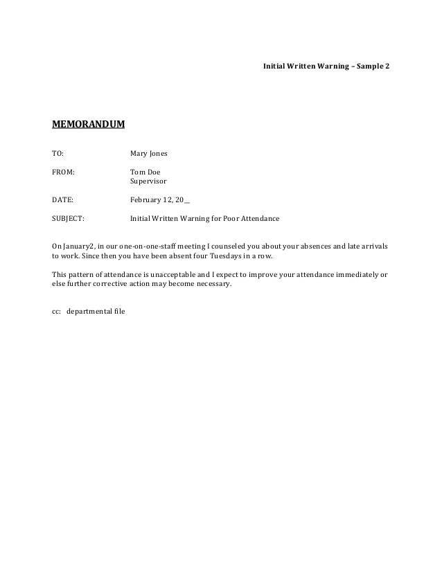 Corrective Action Verbal Warning Template. Warning Letter Template ...