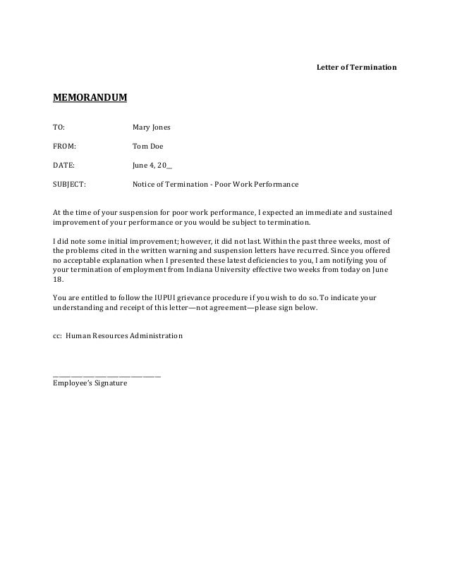 sample termination letter for poor work performance