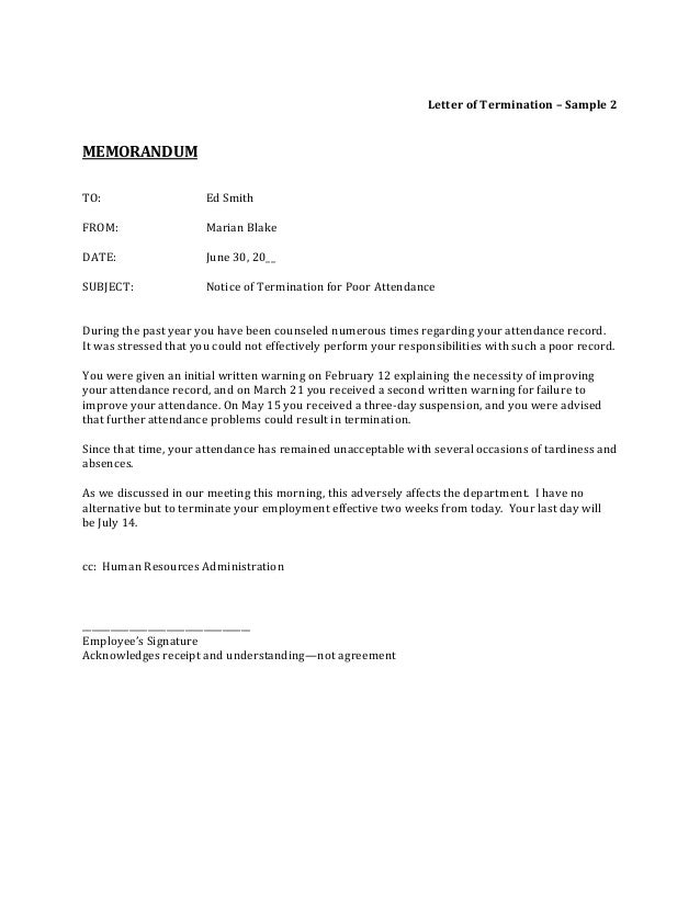 Job Termination Letters Employees Signature Letter Of Termination