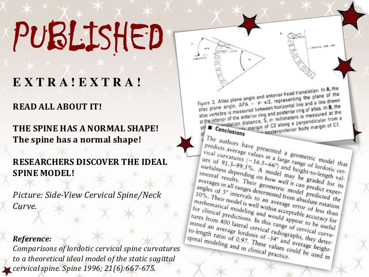 PUBLISHED<br />EXTRA!EXTRA!<br />READ ALL ABOUT IT!<br />THE SPINE HAS A NORMAL SHAPE! <br />The spine has a normal shape!...