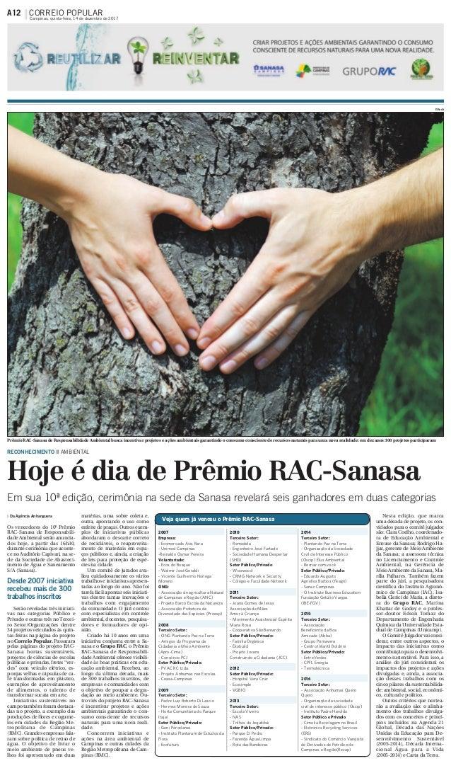 RECONHECIMENTO ||| AMBIENTAL Hoje é dia de Prêmio RAC-Sanasa Da Agência Anhanguera Os vencedores do 10º Prêmio RAC-Sanasa ...