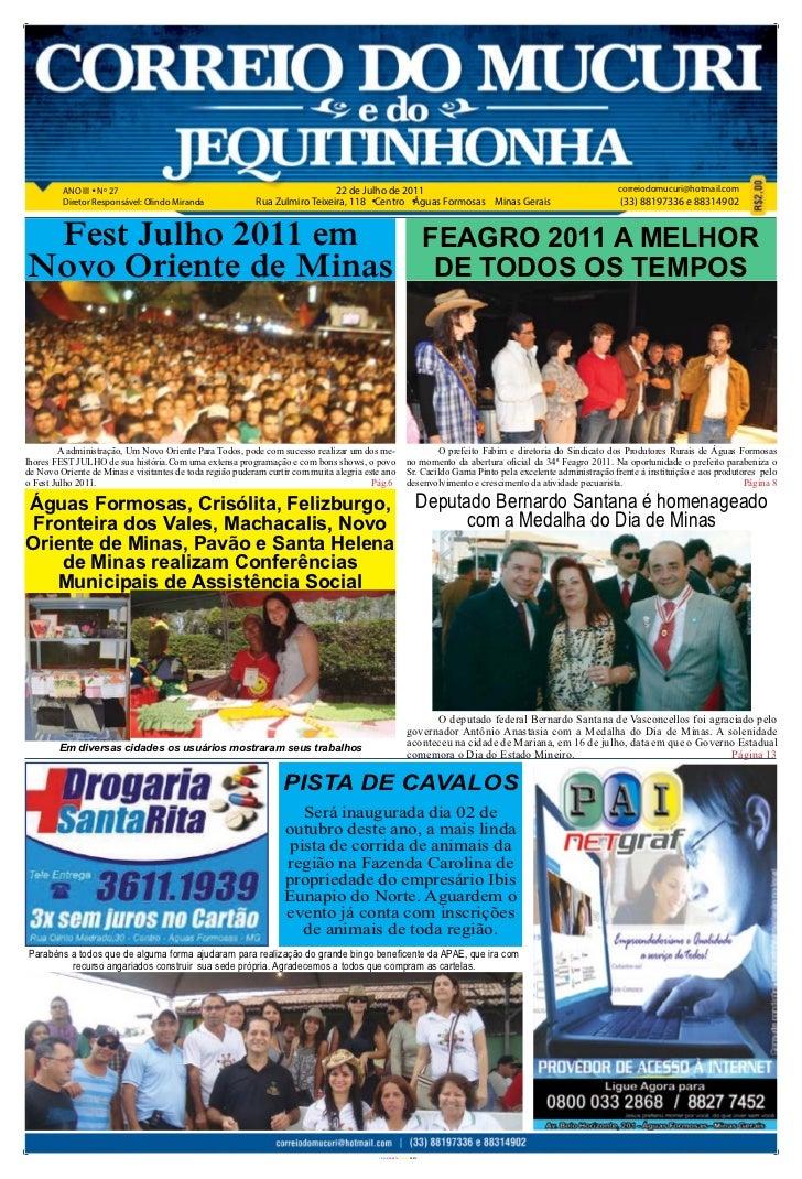 ANO III Nº 27                                                      22 de Julho de 2011                                    ...