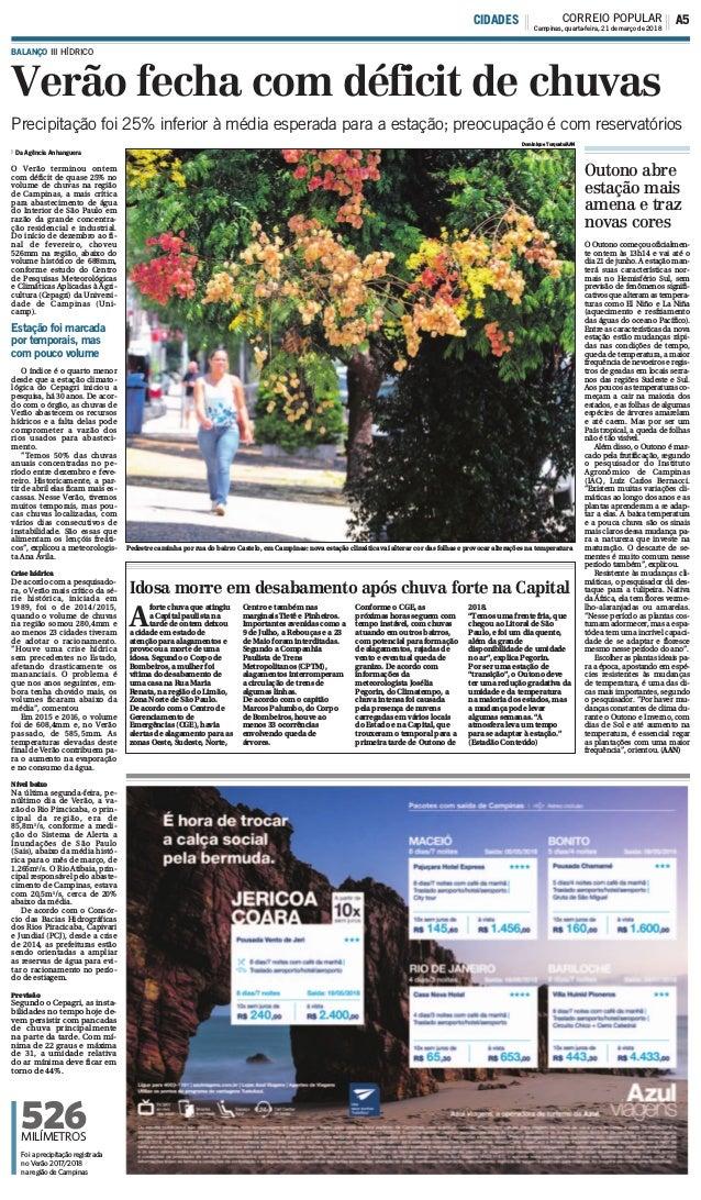 Verão fecha com déficit de chuvas BALANÇO III HÍDRICO Da Agência Anhanguera O Verão terminou ontem com déficit de quase 25...