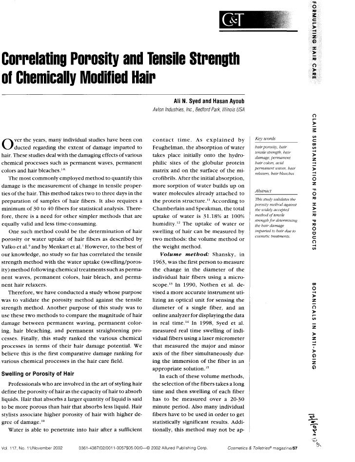 Correlating Porosity and Tensile Strength of Chemically Modified Hair                                                     ...