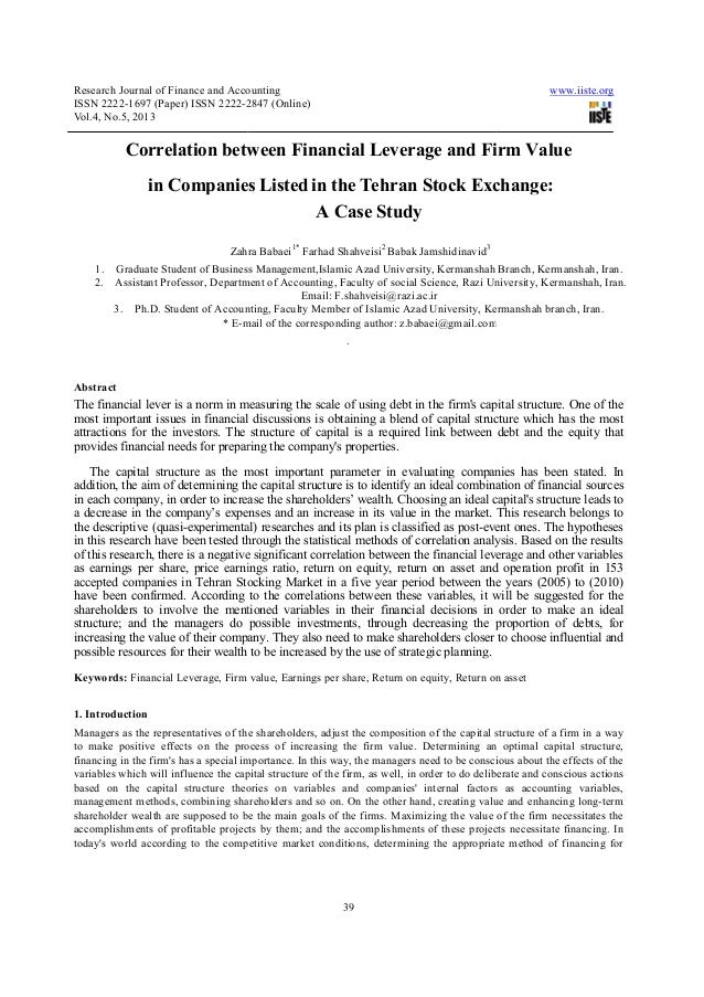 Research Journal of Finance and AccountingISSN 2222-1697 (Paper) ISSN 2222-2847 (OnlineVol.4, No.5, 2013Correlation betwee...