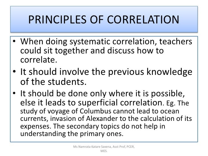 When doing systematic correlation, teachers could sit together and discuss how to correlate.<br />It should involve the pr...