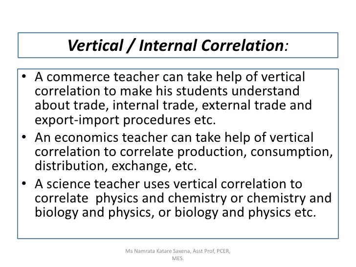 Vertical / Internal Correlation:<br />A commerce teacher can take help of vertical correlation to make his students unders...