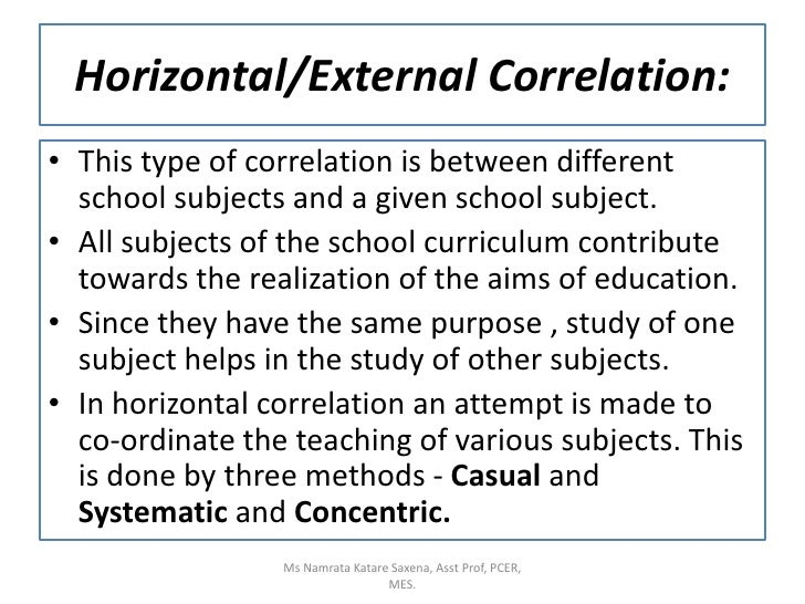 Horizontal/External Correlation:<br />This type of correlation is between different school subjects and a given school sub...