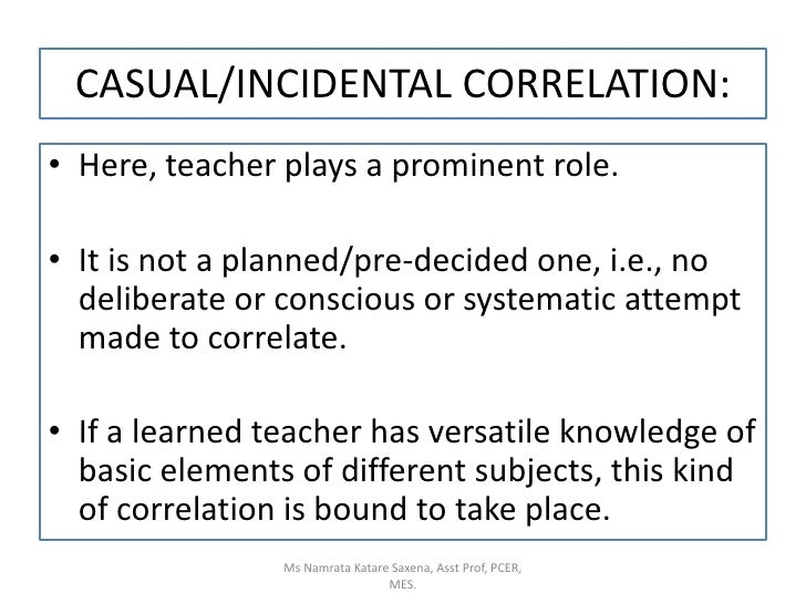 CASUAL/INCIDENTAL CORRELATION:<br />Here, teacher plays a prominent role.<br />It is not a planned/pre-decided one, i.e., ...