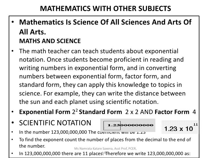 essay on relation and use of mathematics in other subjects Theme group 6: mathematics and other subjects chieforganizer: werner blum (frg) the role of mathematics for other subjects, at all levels of the educational system,.