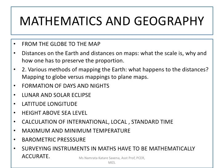 MATHEMATICS AND GEOGRAPHY<br />FROM THE GLOBE TO THE MAP<br />Distances on the Earth and distances on maps: what the scale...
