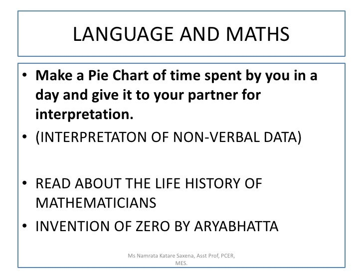 LANGUAGE AND MATHS<br />Make a Pie Chart of time spent by you in a day and give it to your partner for interpretation.<br ...