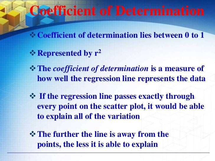  The Coefficient of determination represents the  percent of the data that is the closest to the line of  best fit For e...
