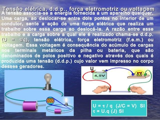 A tensão associa-se a energia fornecida a um aparelho qualquer. Uma carga, ao deslocar-se entre dois pontos no interior de...