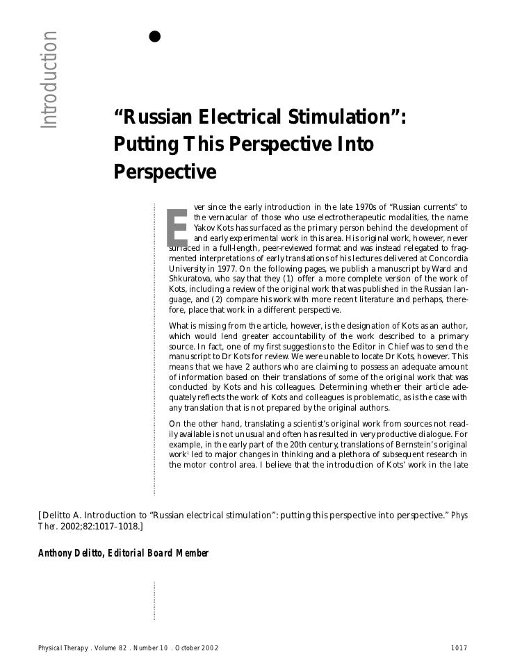 """Introduction                      """"Russian Electrical Stimulation"""":                      Putting This Perspective Into    ..."""