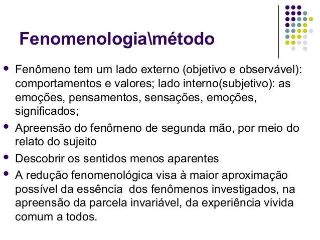 Fenomenologiamétodo  Fenômeno tem um lado externo (objetivo e observável): comportamentos e valores; lado interno(subjeti...