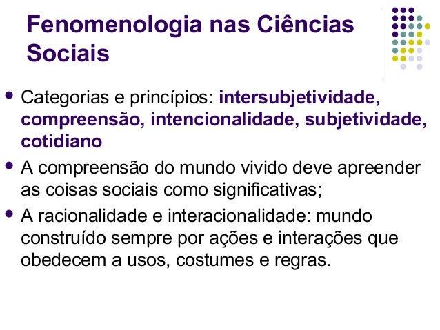 Fenomenologia nas Ciências Sociais  Categorias e princípios: intersubjetividade, compreensão, intencionalidade, subjetivi...