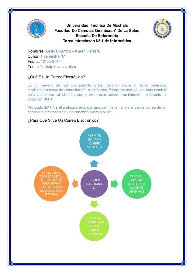 Universidad Técnica De Machala  Facultad De Ciencias Químicas Y De La Salud  Escuela De Enfermería  Tarea Intraclases Nº 1...