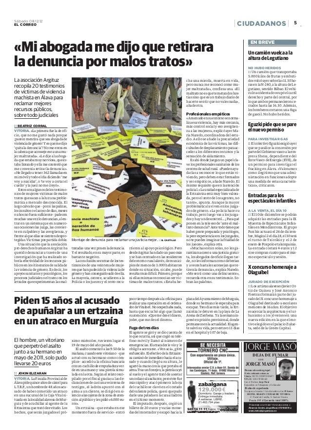 La asociación Argituz recopila 20 testimonios de víctimas de violencia machista en Álava para reclamar mejores recursos pú...
