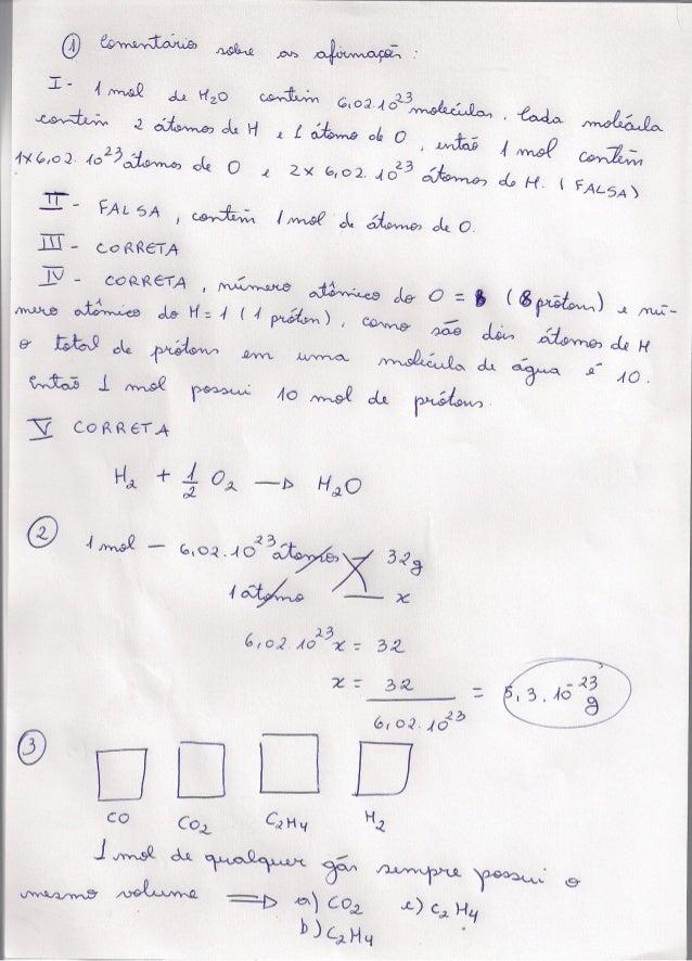 Correção atividades de química   2