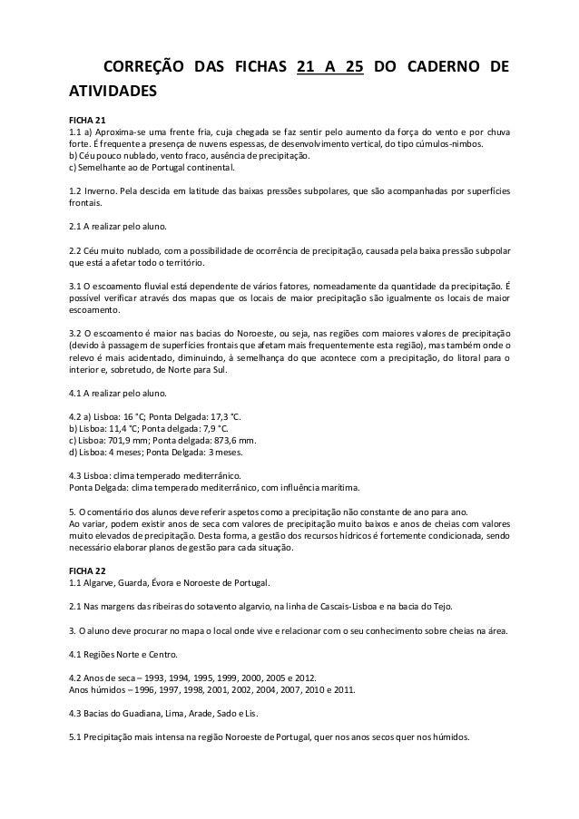 CORREÇÃO DAS FICHAS 21 A 25 DO CADERNO DE ATIVIDADES FICHA 21 1.1 a) Aproxima-se uma frente fria, cuja chegada se faz sent...