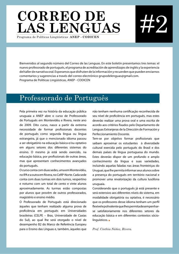 CORREO DE LAS LENGUAS Programa de Políticas Lingüísticas ANEP - CODICEN                                                   ...