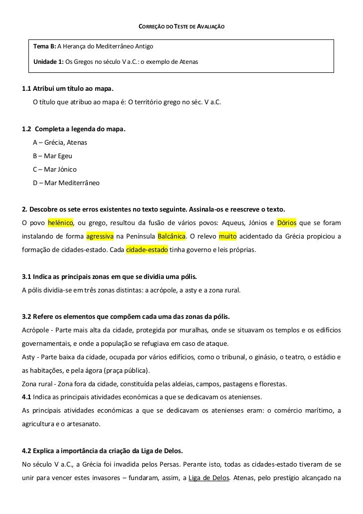 CORREÇÃO DO TESTE DE AVALIAÇÃO    Tema B: A Herança do Mediterrâneo Antigo    Unidade 1: Os Gregos no século V a.C.: o exe...