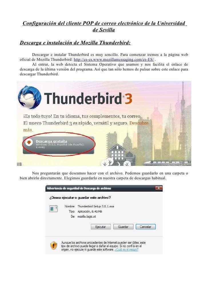 Configuración del cliente POP de correo electrónico de la Universidad                              de SevillaDescarga e in...