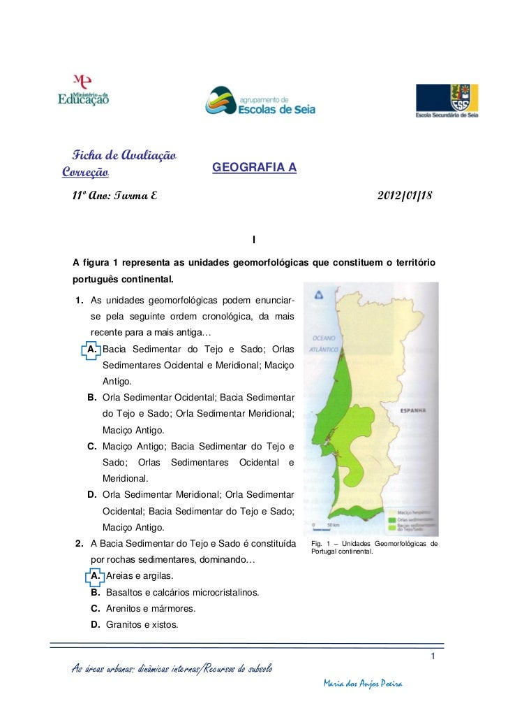 Ficha de AvaliaçãoCorreção                                GEOGRAFIA A 11º Ano: Turma E                                    ...