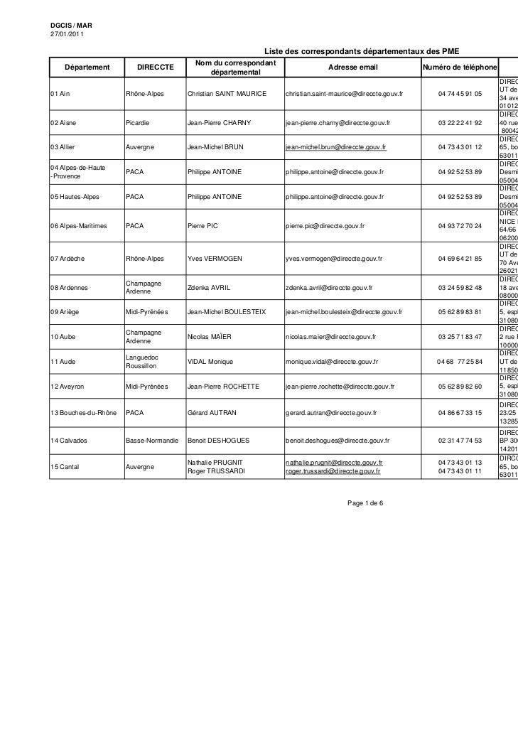 DGCIS / MAR27/01/2011                                                               Liste des correspondants départementau...