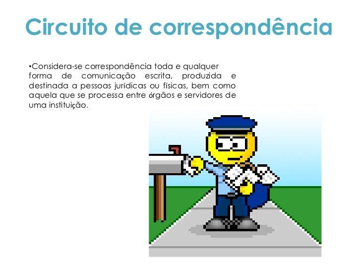 Circuito de correspondência•Considera-se correspondência toda e qualquerforma de comunicação escrita, produzida edestinada...