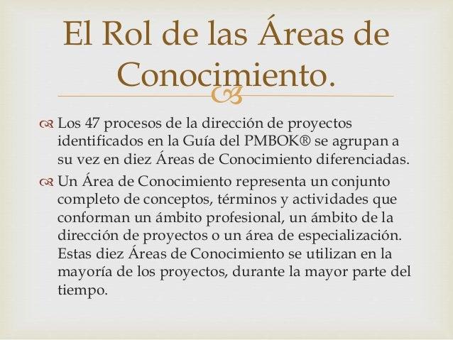 Correspondencia entre grupos de procesos y áreas de conocimiento de la dirección de proyectos. Slide 2