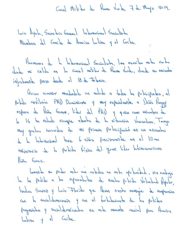 Carta de Leopoldo López a la Internacional Socialista