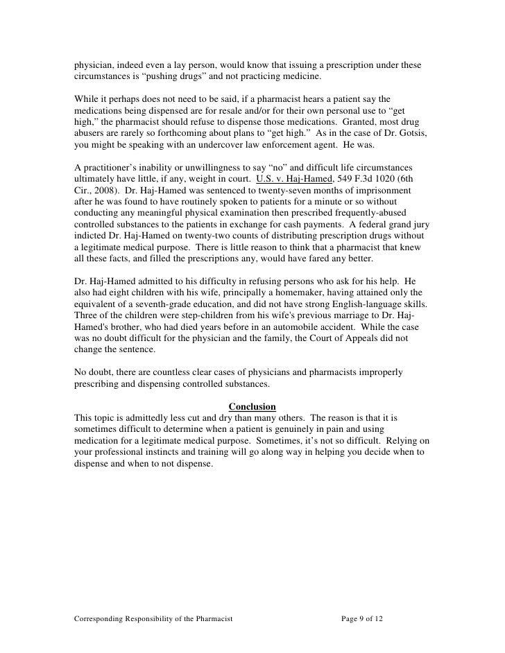 Corresponding Responsibility Of The Pharmacist – Responsibility of a Pharmacist