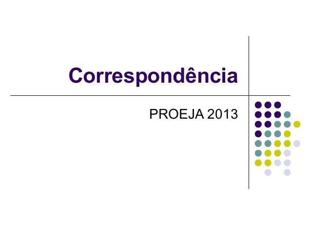 CorrespondênciaPROEJA 2013
