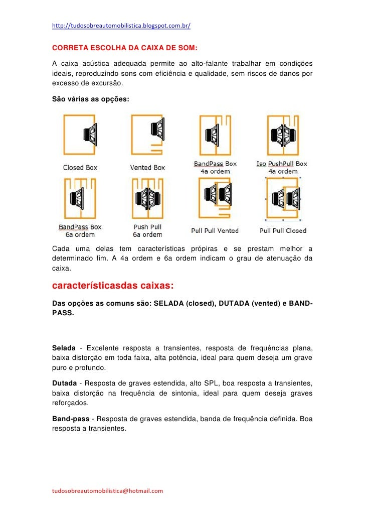 http://tudosobreautomobilistica.blogspot.com.br/CORRETA ESCOLHA DA CAIXA DE SOM:A caixa acústica adequada permite ao alto-...
