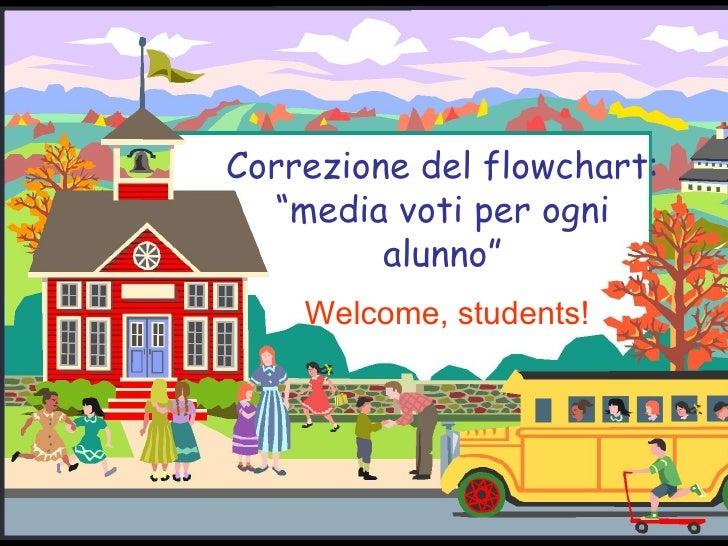 """Correzione del flowchart: """"media voti per ogni alunno"""" Welcome, students!"""