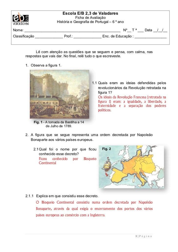 Escola E/B 2,3 de Valadares                                       Ficha de Avaliação                           História e ...